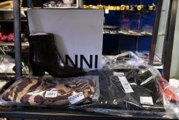 A pair of as new Ganni Western Kalamata boots (EU 37), Ganni check patchwork maxi slip dress (Size