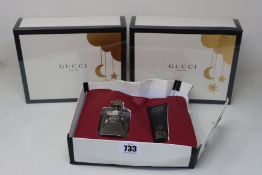 Three as new Gucci Guilty pour homme gift sets (Eau de toilette 50ml and shower gel 50ml, one box