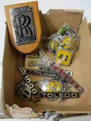 A quantity of vintage car badges and related to include Rolls Royce, Triumph, Commer and AA (