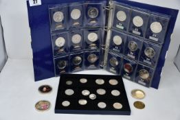 Coins: Twenty seven UK £5 coins in Change Checker album together with a collection of European