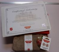 A brick recovered from the Salvation Army Children's Home on Strawberry Field Liverpool (Recovered