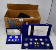 A box of coins to include large quantity of mostly sterling silver commemorative proof coins,