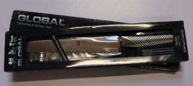 A boxed as new Global Cromova 18 stainless steel G-9 bread knife with 22cm blade (Over 18s only).