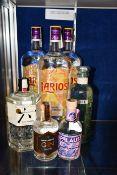 Three Larios Ginebra Mediterranea London dry gin (2 x 1500ml), a Rocku the Japanese Craft gin (