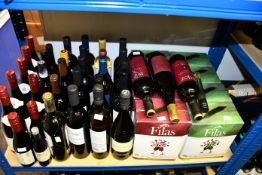A quantity of assorted bottled wines and boxed red/white wines to include Famille Perrin Ventoux,