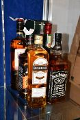 Two Jameson Irish whiskey (2 x 700ml), a The Famous Grouse blended Scotch whisky (1ltr), a Bushmills