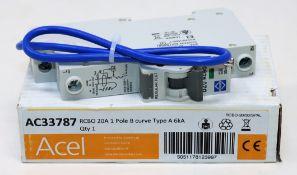 Twenty five boxed as new Acel AC33787 Lewden RCBO 20A 1 Pole B Curve Type A 6kA (P/N: RCBO-20/30/