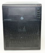 A pre-owned HPE ProLiant MicroServer Gen8 G1610T (Hard drive removed) (Untested, sold as seen).