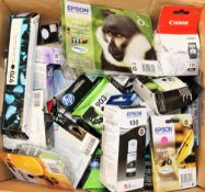 A quantity of assorted boxed as new printer cartridges to include Canon, HP and Epson.