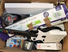 A box of assorted pre-owned small electrical items including a Nintendo Wii, games and accessories