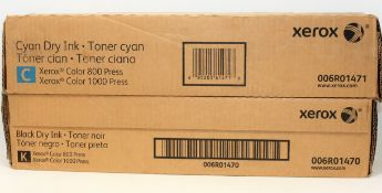 A boxed as new Xerox Color Press 800 1000 Cyan Dry Ink Toner Cartridge (P/N: 006R01471) and a