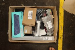 A box of assorted as new and pre-owned small electrical items and accessories (All items sold as