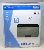 A boxed as new Brother HL-L2350DW Mono Laser Printer (Box sealed, damage to box).