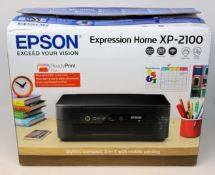 A boxed as new Epson Expression Home XP-2100 A4 Colour Multifunction Inkjet Printer (P/N: