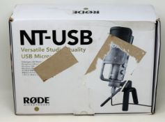 A boxed as new Rode NT-USB Condenser Microphone (Box opened, damage to box).