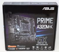 A boxed as new Asus Prime A320M-K AMD AM4 Motherboad (P/N: 90MB0TV0-M0EAY0).