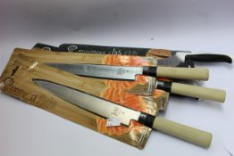 """A quantity of as new Mercer Culinary knives to include three 240mm Sashimi knives, three 9"""" bread"""