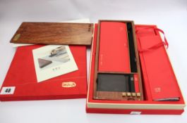 A Bi Mo Fang brush and ink case for calligraphy; Complete with carry case, table felt, ink pads, ink
