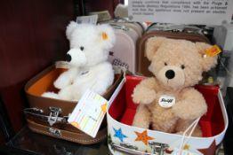 Four as new Steiff Teddy Bears in suitcases - Fynn 28 beige, Fynn 23 beige two Lotte 28 white (