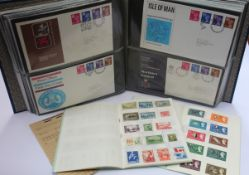 A crate and album containing GB FDCs and Approval books.