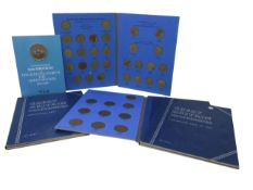 GB coins; three 1973 50p proofs, 1953 year set and collection of 1/2ds, 1ds and 3ds.