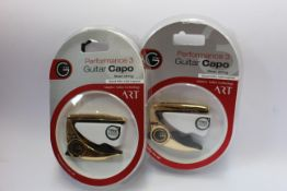 Three as new G7th Performance 3 Guitar Capos for steel strings (Special Edition Celtic Engraved).