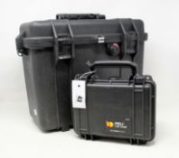 A pre-owned Peli 1430 Protector Top Loader Case and a pre-owned Peli 1120 Protector Case (Both