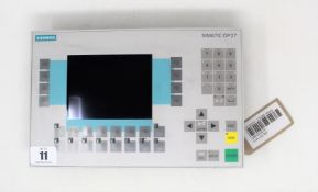 A pre-owned Siemens Simatic OP27 Monochrome Operator Panel (P/N: 6AV3627-1JK00-0AX0) (Untested, sold