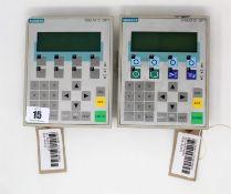 Two pre-owned Siemens Simatic OP7 Operator Panels (P/N: 6AV3607-1JC20-0AX1) (1 x back cover loose, 1
