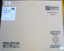 A boxed as new Zebra ZT410 203dpi industrial label printer with wireless connectivity (P/N: