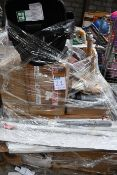 A pallet of assorted flat packed furniture and related items (BCVA cannot guarantee to be