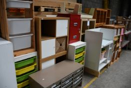 A quantity of furniture to include tables, cabinets, storage cabinets and a desk.
