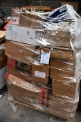 A pallet of assorted cleaning items to include wipes, paper towels and soaps.