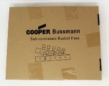 A box of 1000 as new Eaton Bussmann SR-5H-4A-AP T 4A 250VAC Sub-Miniature Radial Fuses (Box sealed).
