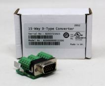 Five boxed as new Control Techniques 15-Way D-Type Converters (M/N: 82000000012200).