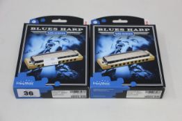Ten boxed as new Hohner MS-Series Blues Harp harmonicas.