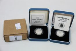 Silver proof £1 coin x 6, silver proof Piedfort £1 x 2, plus silver proof 5p, all boxed.