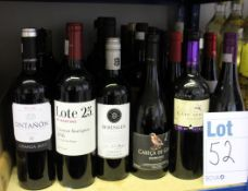 A quantity of red wines to include Lote 25, Ontanon, Cabeca De Gaio, Cape Spring, Beringer and