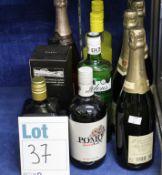 Four bottles of J M Gobillaro & Fils champagne (4 x 750ml) and eight bottles of assorted spirits