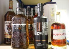 Two Highland Park 12yr Viking Honour single malt whisky (2 x 700ml), a Captain Morgan original
