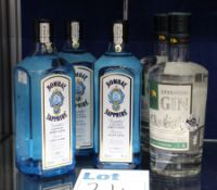 Three bottles of Bombay Sapphire vapour infused dry gin (3 x 700ml) and two bottles Levantine gin (2