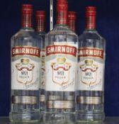 Five bottles of Smirnoff Vodka's ( 5 x 1ltr) (Over 18's only).