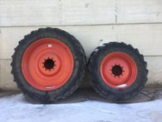 Set of 380/85R34 front and 380/90R50r rear row crop Stocks AG wheels and tyres
