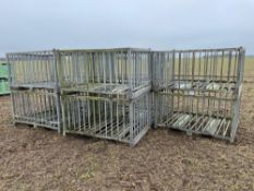 9No galvanised metal crates 46in x 64in x 35in Please note that this lot is situated at Catherine's