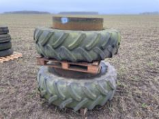 Pair 420/85R38 dual wheels and tyres with clamps
