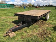 Flat bed 10ft single axle trailer with wooden floor