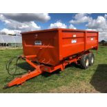 1984 Griffiths GT80 10t twin axle hydraulic tipping grain trailer with manual tailgate and grain chu
