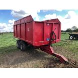 1978 AS Marston 9t twin axle hydraulic tipping grain trailer with manual tailgate and grain chute. S