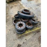 John Deere wheel idlers from John Deere 8430t. Please Note: this lot is located at Crown Farm, Great