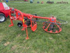 2014 Kuhn Haybob 300 twin rota tedder/rake linkage mounted. Serial No: VGTH226199. N.B. Instr